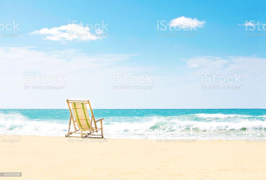 Beach Chair on Beach of Kauai Hawaii stock photo