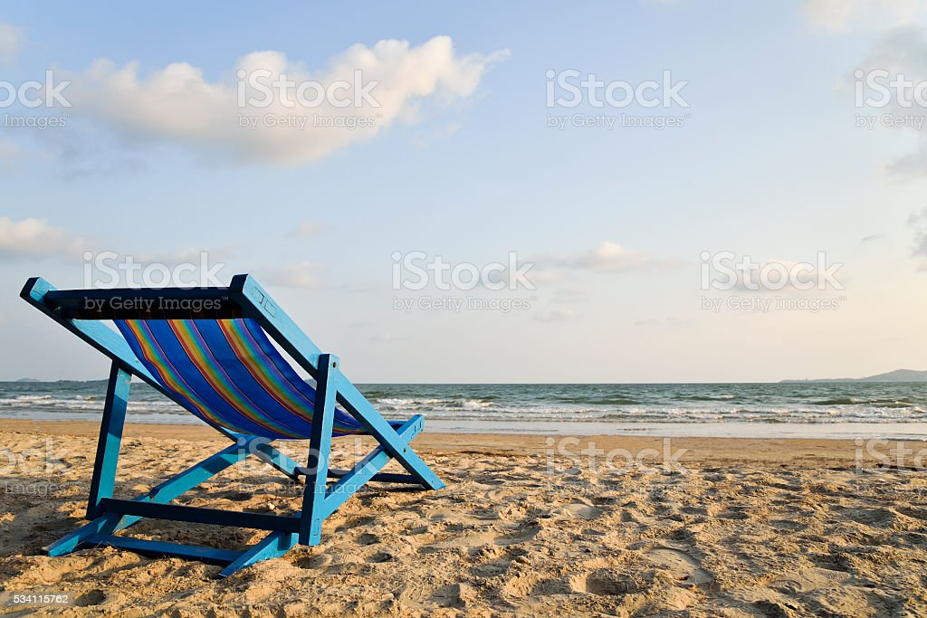 Beach chair on the beach. stock photo