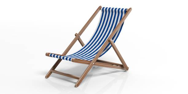 chaise de plage sur fond blanc. illustration 3d - transat photos et images de collection