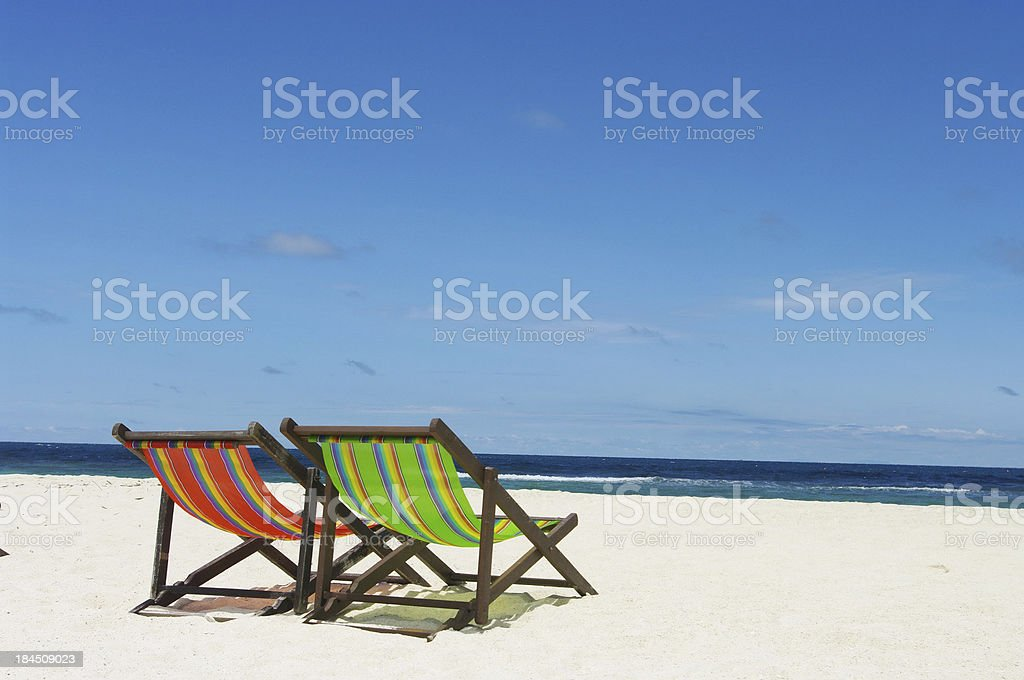 Beach chair with sea background royalty-free stock photo