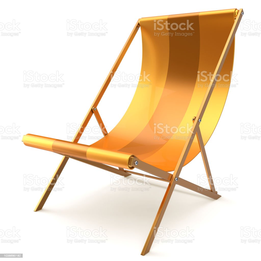 Beach chair yellow chaise longue nobody relaxation abstract stock photo