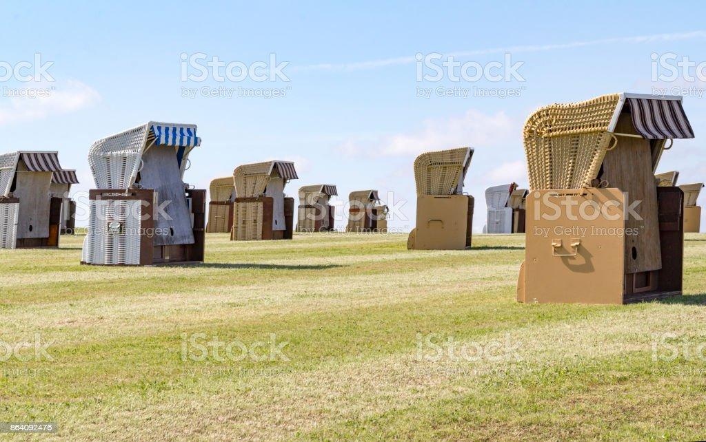 beach chairs around Buesum royalty-free stock photo