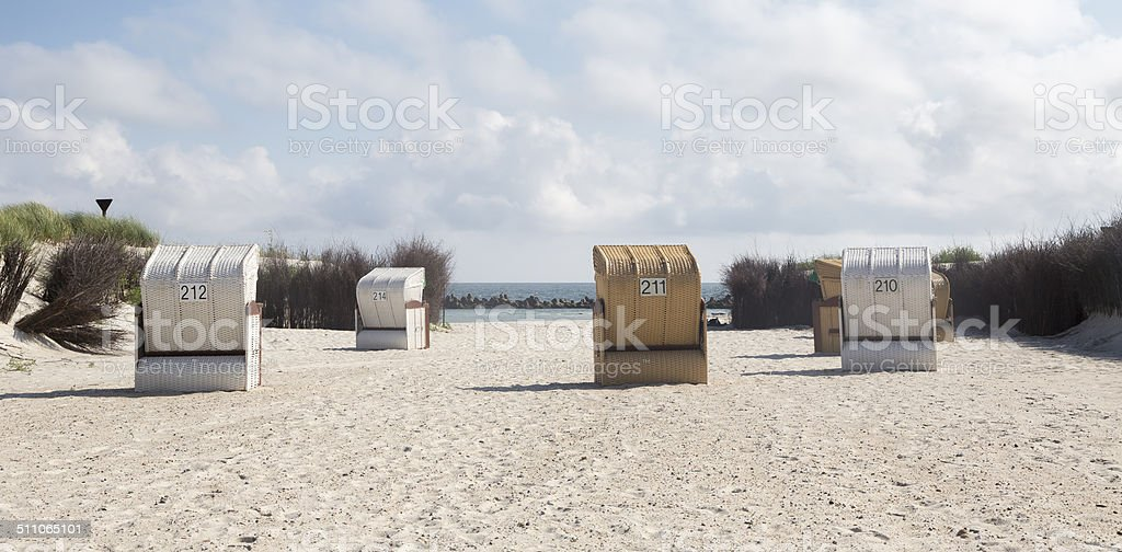 Beach chairs at Helgoland-Dune Island (Germany) stock photo