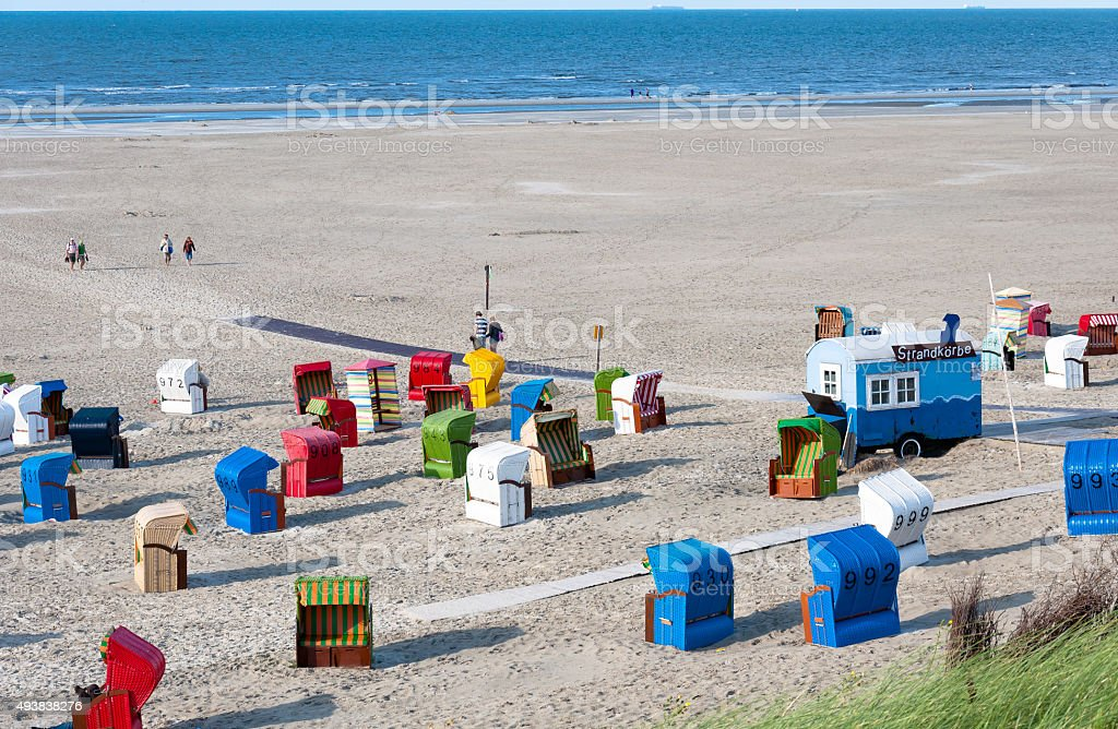 Liegestühle auf der Insel Juist in Deutschland – Foto