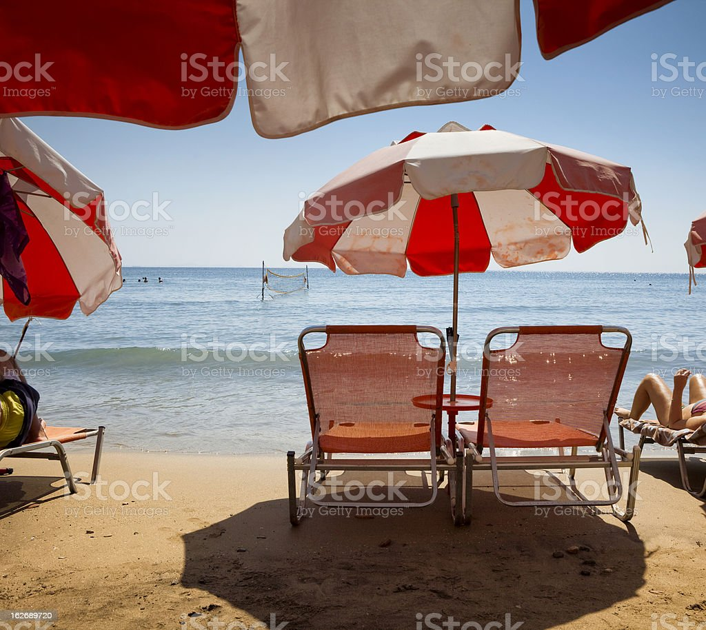 Beach chairs for rent royalty-free stock photo
