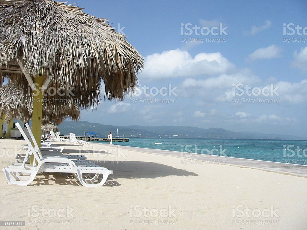 beach chairs in Jamaica royalty-free stock photo