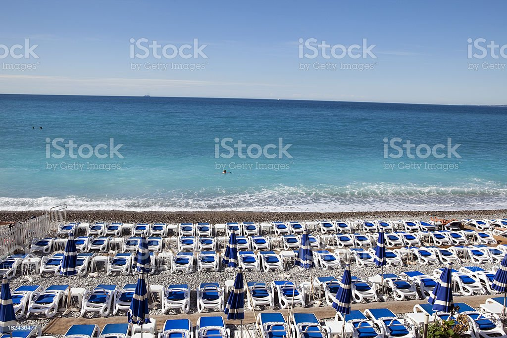 Beach Chairs in Nice France royalty-free stock photo