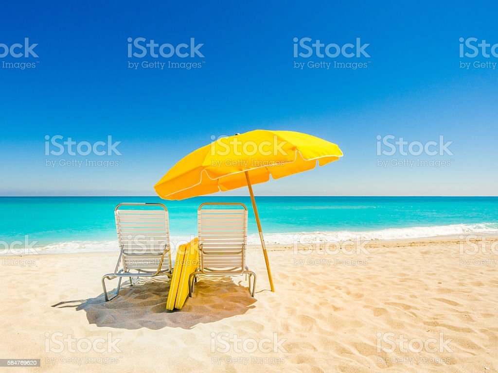 Beach chairs in South Beach stock photo