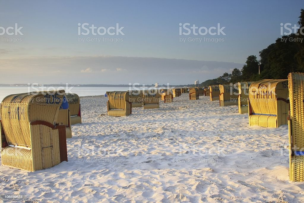 Beach Chairs of Timmendorfer Strand Sunrise royalty-free stock photo