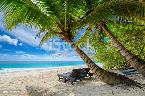 Vacation beach. Beach chairs on sandy beach with palm and turquoise sea.  Summer vacation and travel concept.