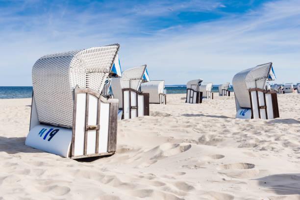 beach - chairs on the beach. germany. - usedom stock-fotos und bilder