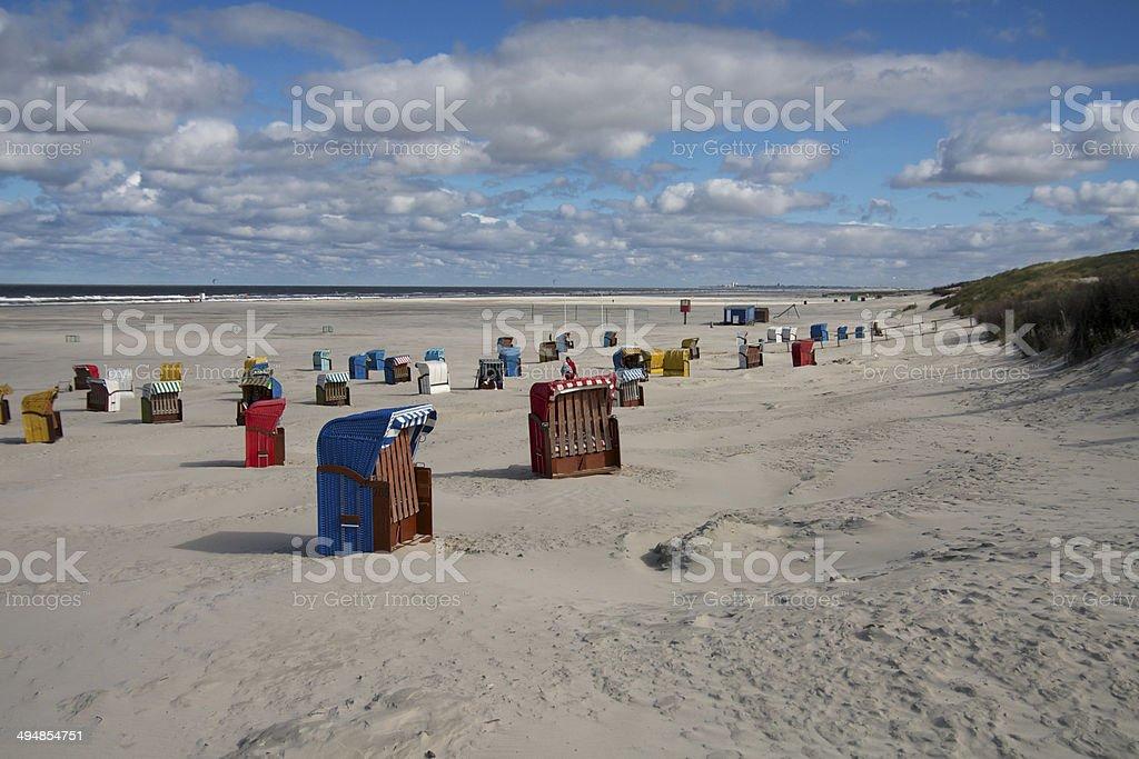 Strandkörbe am Strand von Juist stock photo