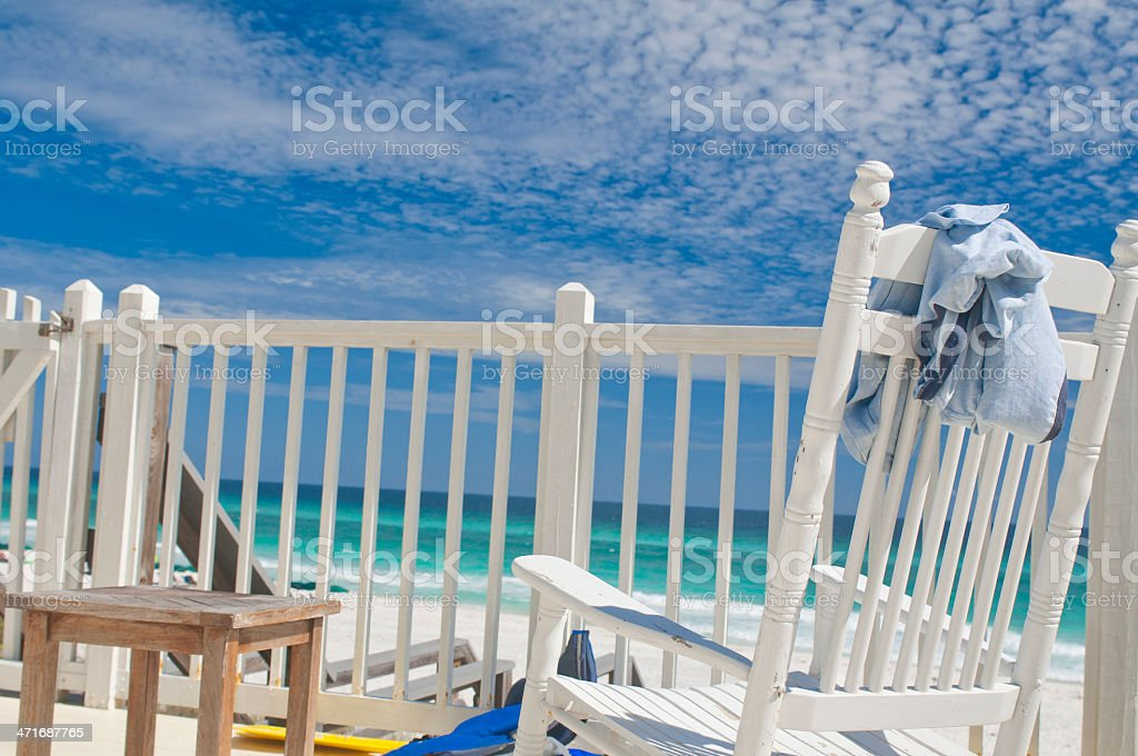 Beach Chairs on the Beach with The Ocean in the Background stock photo