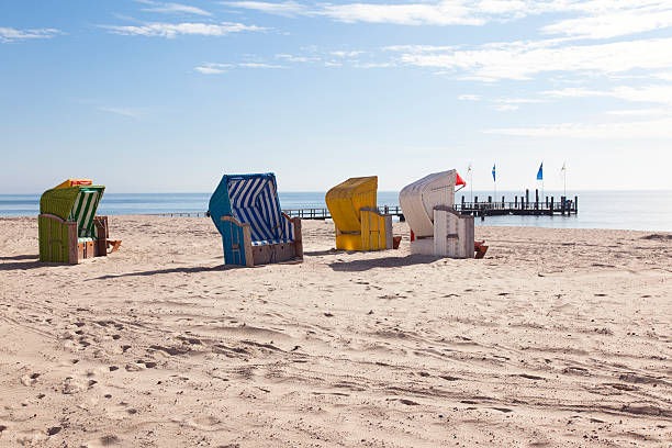Beach chairs on the Island of Foehr at Northsea stock photo