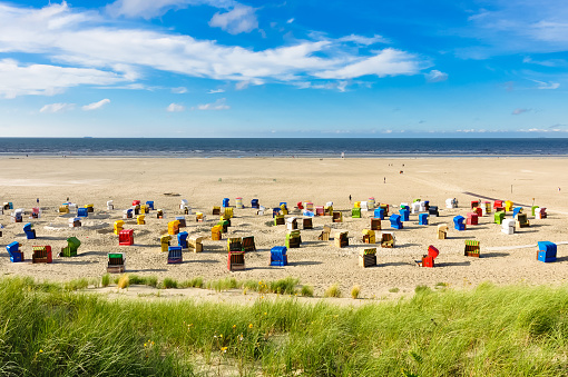 Beach chairs on the island of Juist