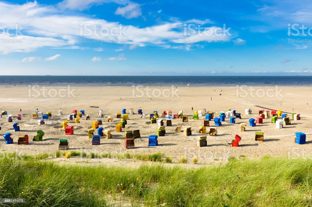 Beach chairs on the island of Juist stock photo