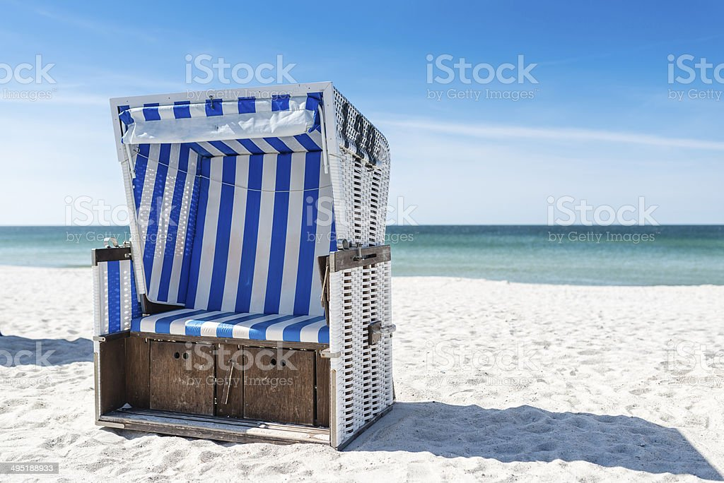 Beach - chairs on the island Sylt. Germany. stock photo