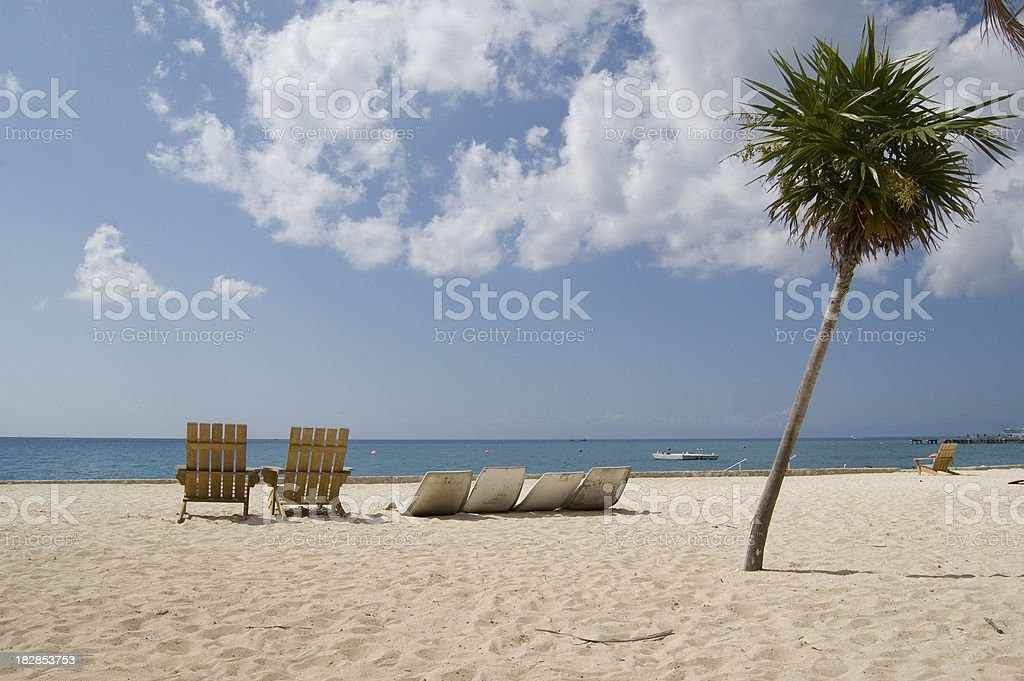 Beach Chairs overlooking Caribbean royalty-free stock photo