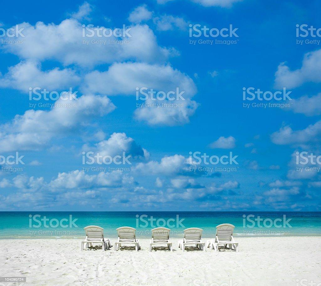Beach chairs royalty-free stock photo