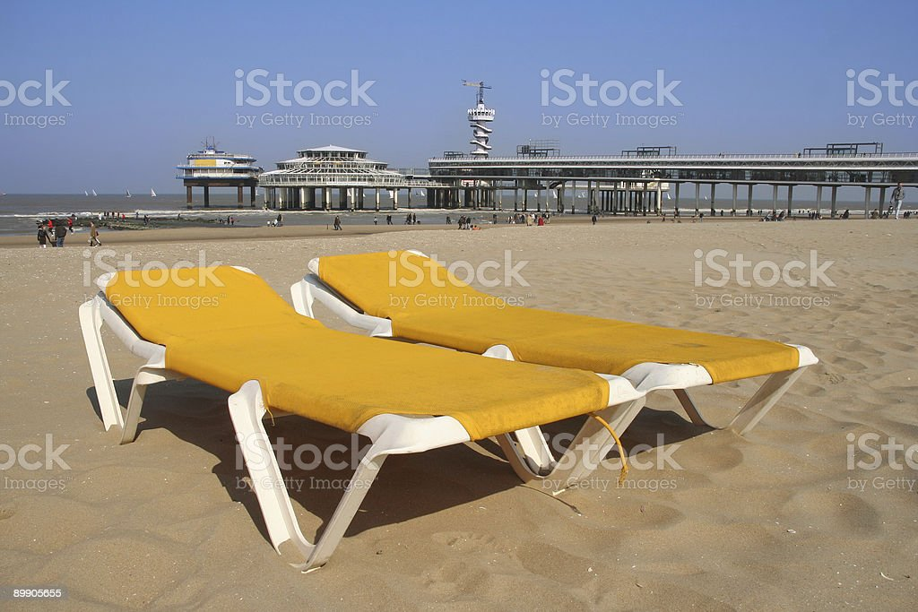 Beach Chairs with Pier royalty-free stock photo