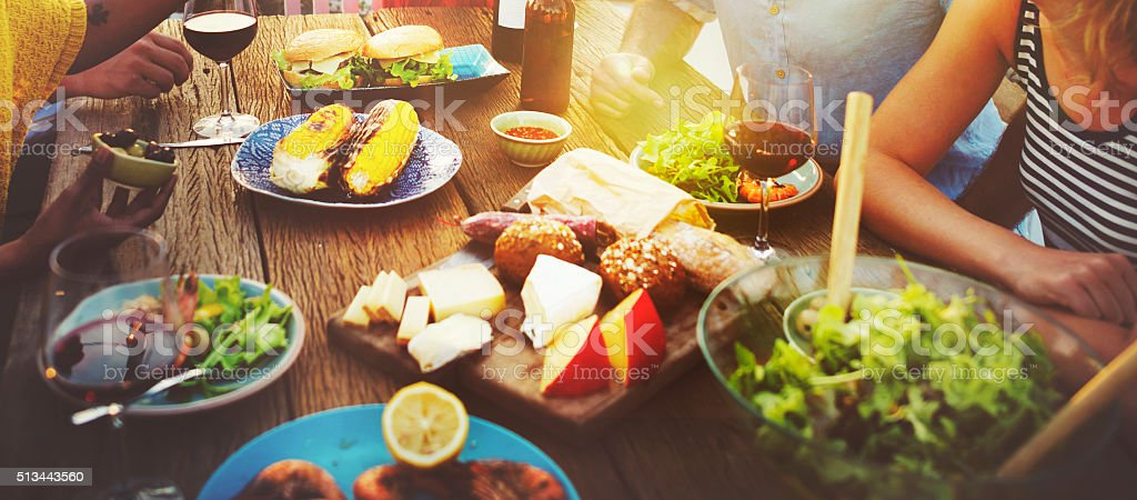 Beach Cheers Celebration Friendship Summer Fun Dinner Concept stock photo
