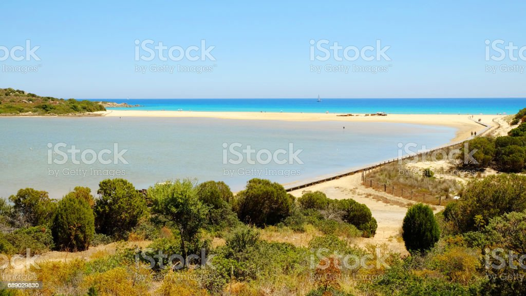 Beach Chia in Sardinia, Italy. stock photo