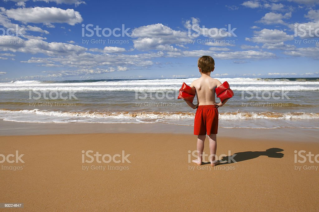 Beach Child standing stock photo