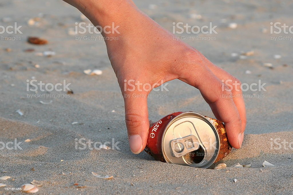 Beach clean up royalty-free stock photo