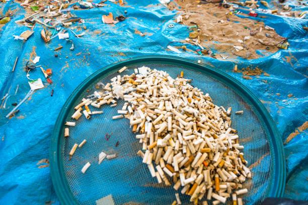 pulizia della spiaggia. pulire le spiagge sporche dall'azione dell'uomo. sostenibilità del pianeta e conservazione della natura. - cicca sigaretta foto e immagini stock