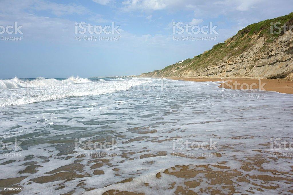 Beach close to Agios Georgios, Corfu Trail, Greece stock photo