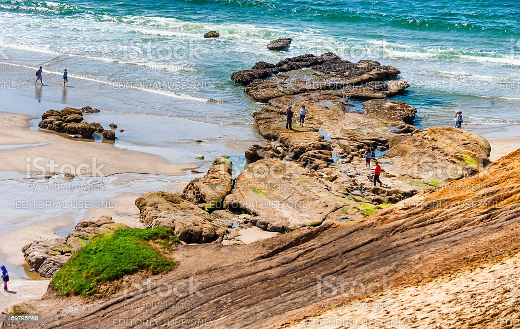 Beach combing tidepools at Cape Kiwanda stock photo