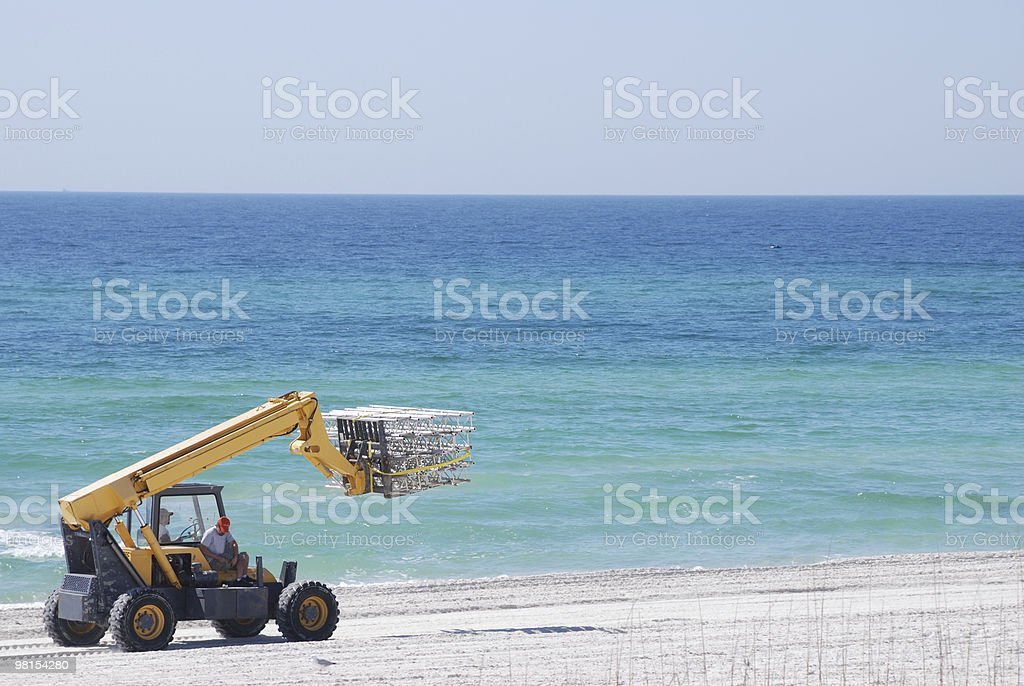 Beach Construction Cleanup royalty-free stock photo