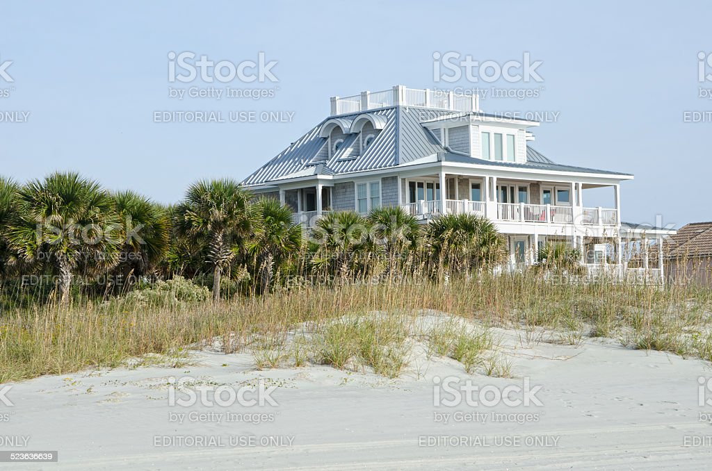 Beach Cottage stock photo