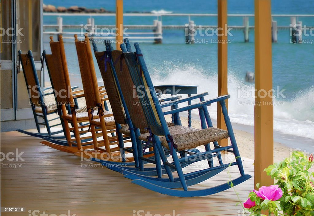 Beach Cottage Rockers stock photo
