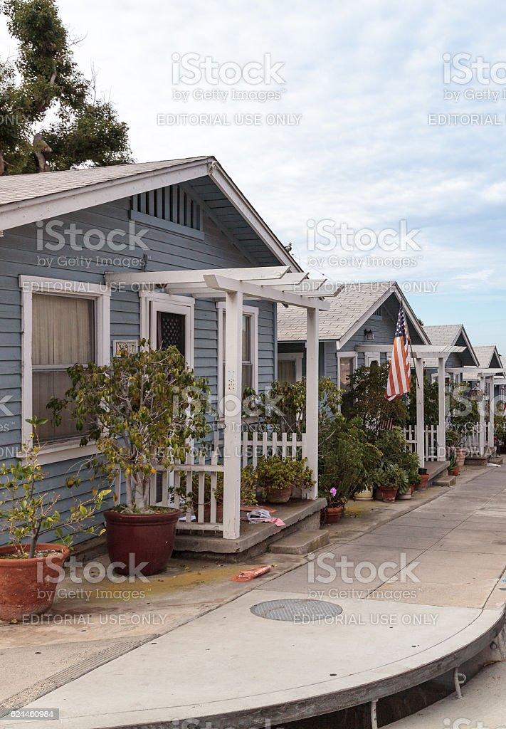 Beach cottages along Park Street stock photo