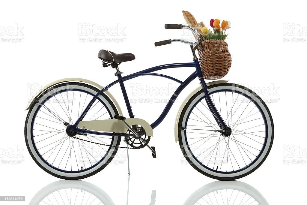 Beach Cruiser bicycle with Basket side stock photo