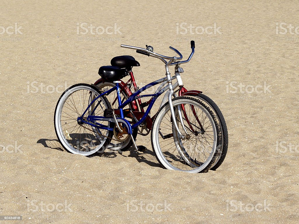 Beach Cruisers - His/Hers Bikes royalty-free stock photo