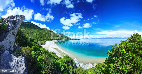 istock Beach, crystal clear water in Adriatic Sea and Green Mountains 656470284