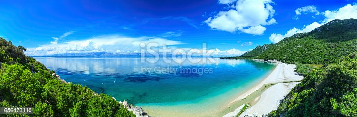 istock Beach, crystal clear water in Adriatic Sea and Green Mountains 656473110