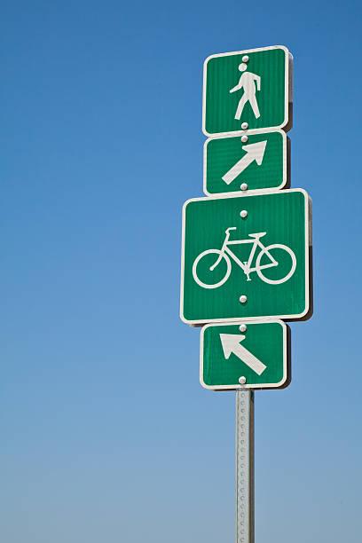 Beach directional bike path and walking sign stock photo