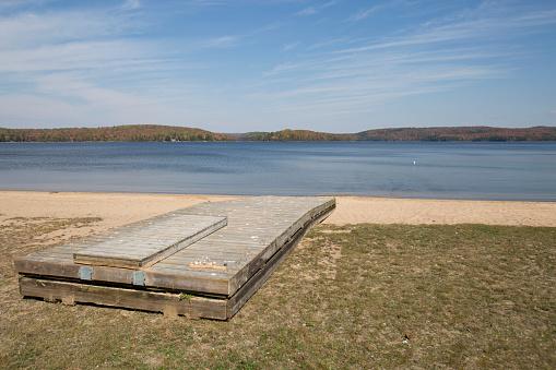 A dock at a lake.