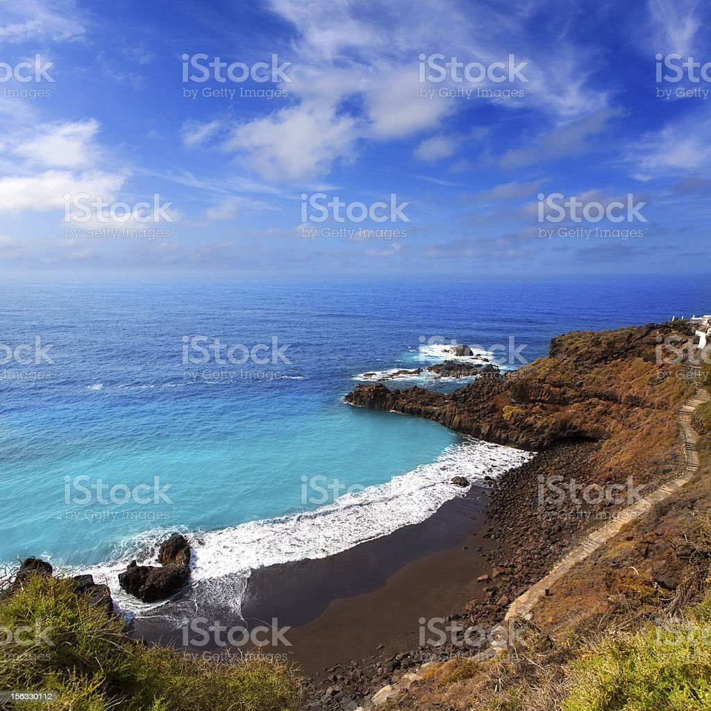 Beach el Bollullo black brown sand and aqua water stock photo