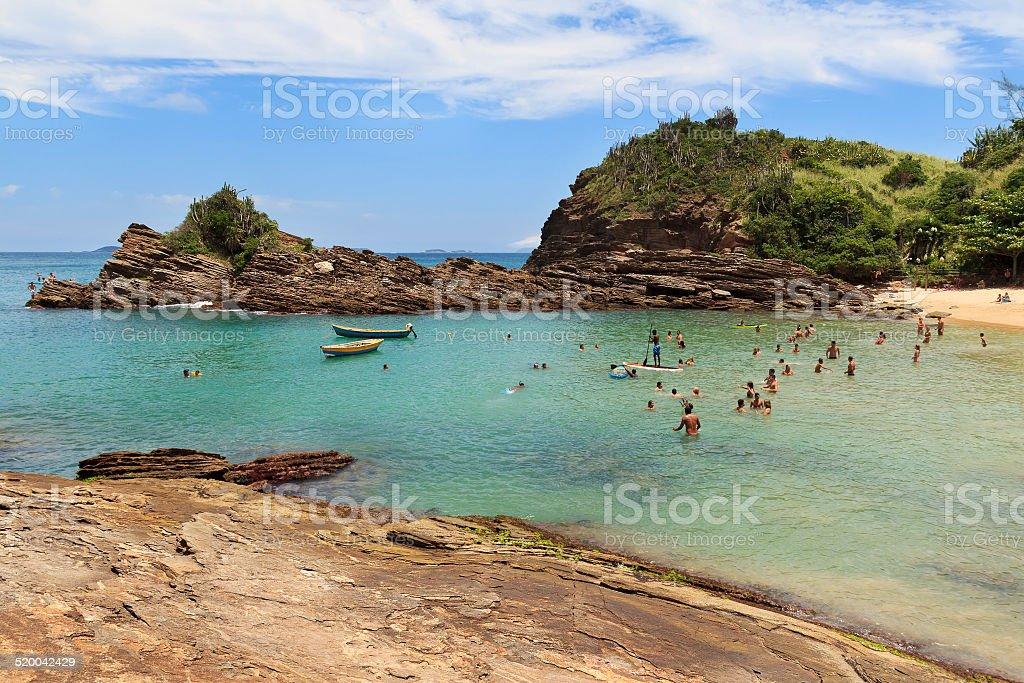 Beach Ferradurinha cove in Buzios near Rio de Janeiro, Brazil stock photo