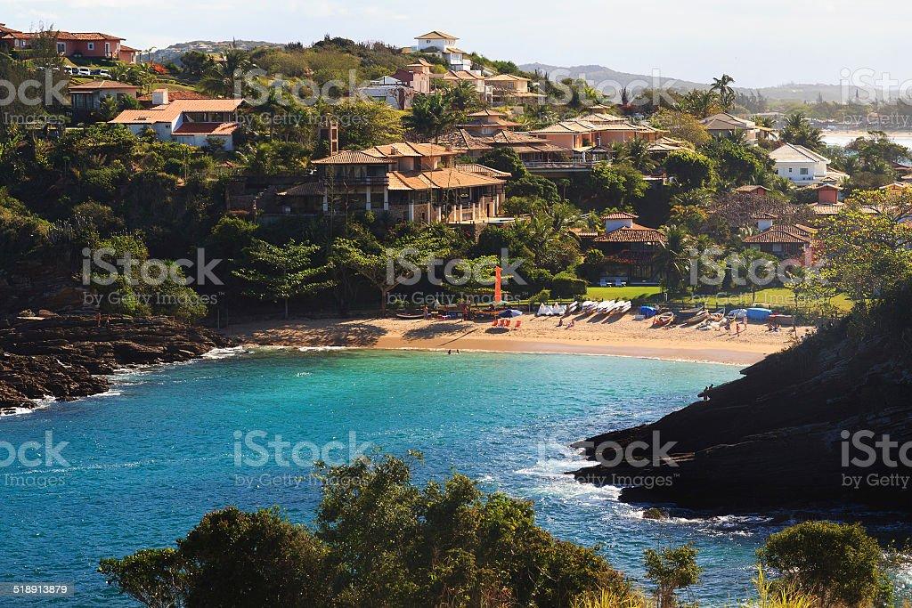 Beach Ferradurinha sea building in Buzios, Rio de Janeiro, Brazi stock photo