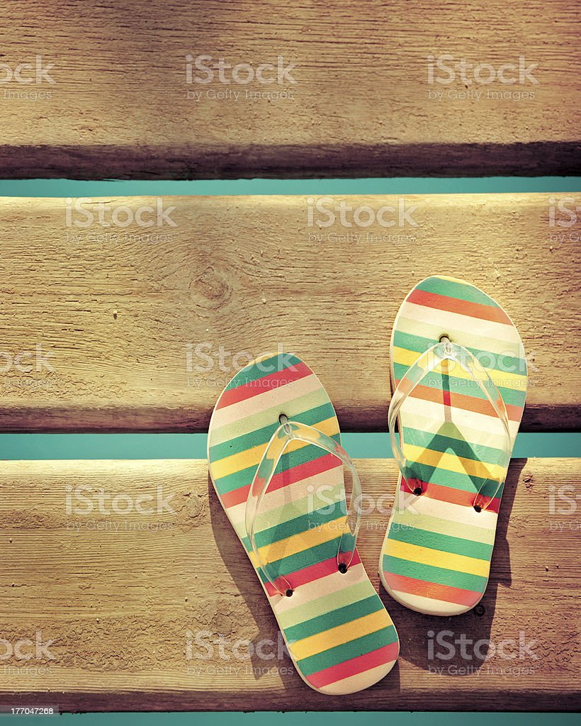 Beach flip flops on wood - Royalty-free Bright Stock Photo