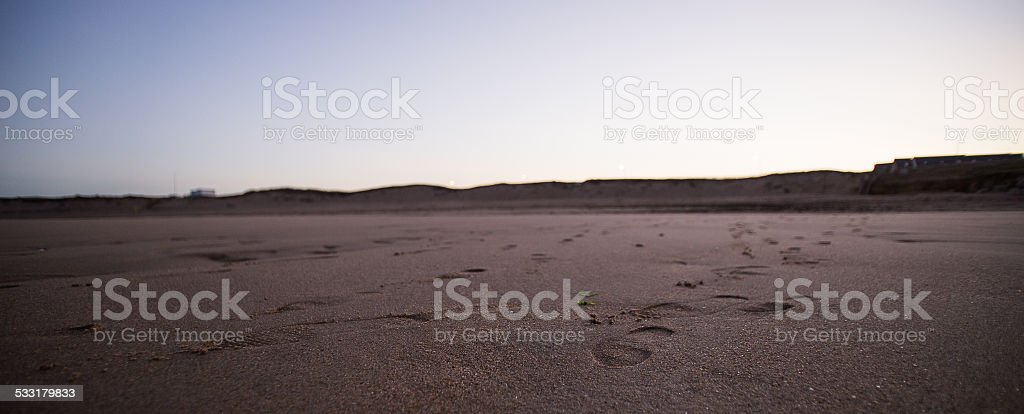 Beach footprint stock photo