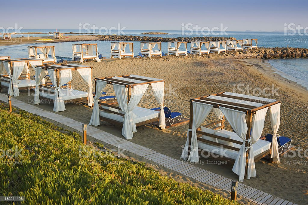 Beach Four Poster Beds Morning Light royalty-free stock photo