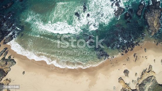 High angle shot of a beach in California.