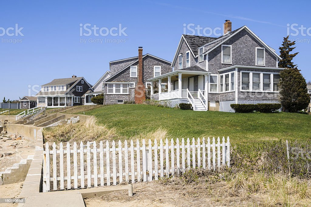 Beach Front Cottages stock photo