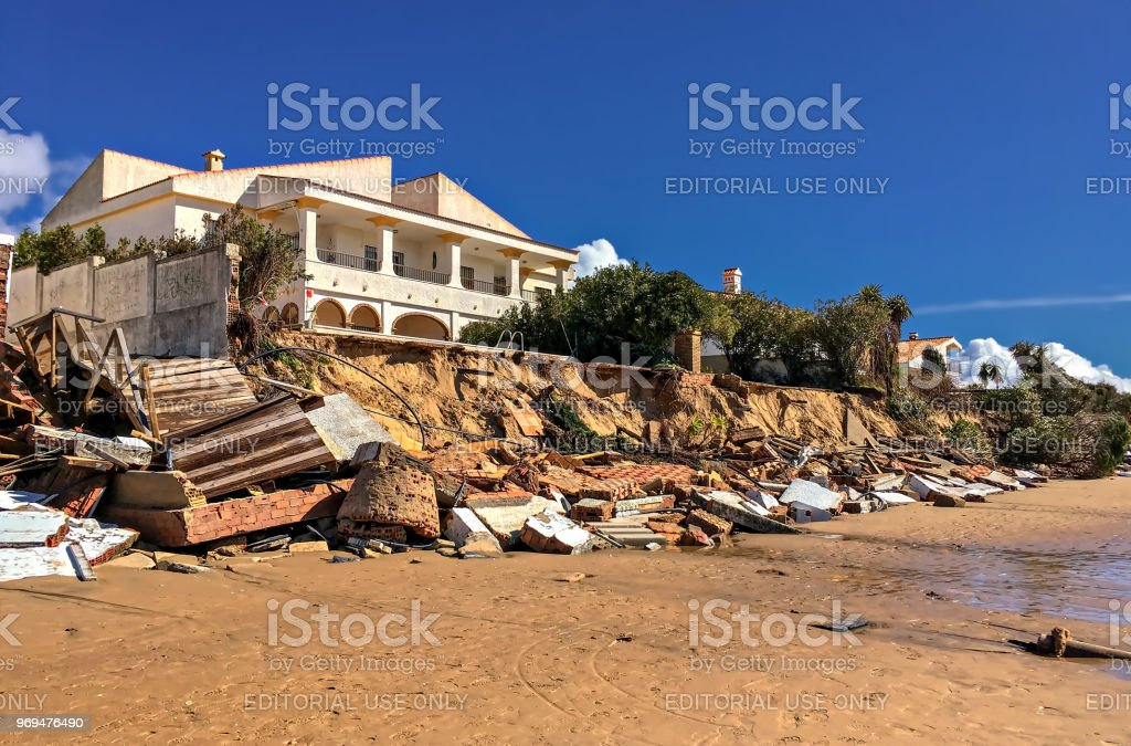 Ocean front homes damaged by hurricane strength winds during winter...